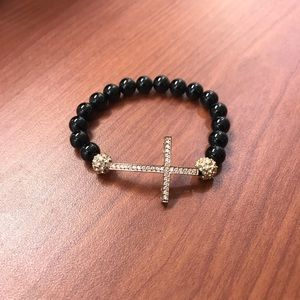 Jewelry - Rose Tone Black Beaded Cross Stretch Bracelet